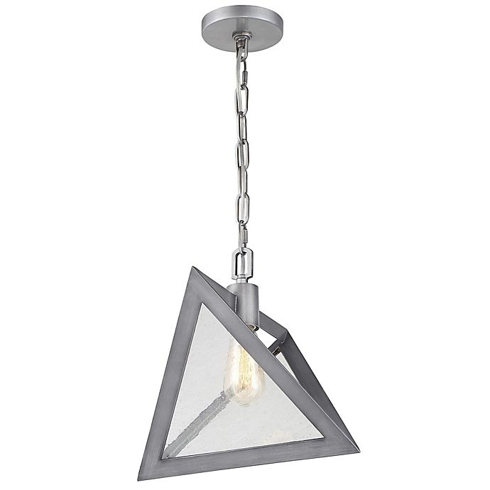 Alternate image 1 for Rogue Decor Company Overrule 1-Light Ceiling-Mount Triangle Pendant in Silver