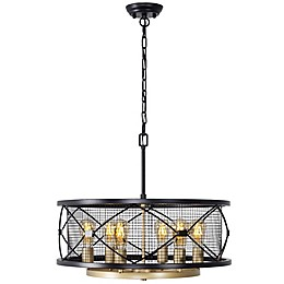 Rogue Decor Company Harlequin 6-Light Ceiling-Mount Pendant in Warm Bronze/Gold