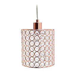 Elegant Designs Elipse 1-Light Crystal Cylinder Pendant in Rose Gold