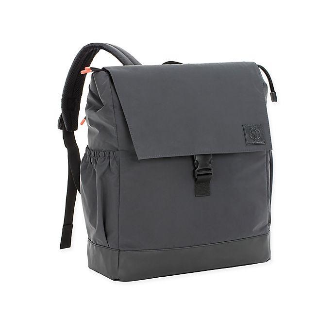 Alternate image 1 for Lassig Large Vintage Little One & Me Reflective Backpack Diaper Bag in Black