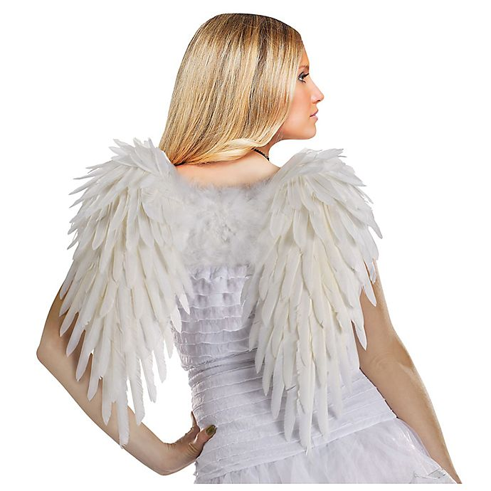 Alternate image 1 for Funworld® Adult Feather Angel Wings Halloween Costume in White
