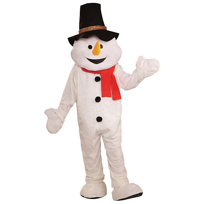 Alternate image 1 for One Size Snowman Plush Economical Mascot Adult Halloween Costume in White