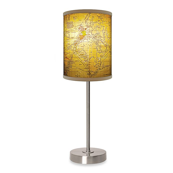 Alternate image 1 for Old World Map Table Lamp with Brushed Nickel Base
