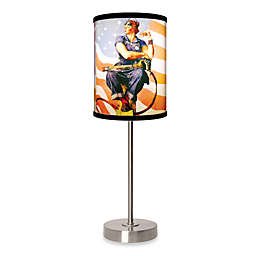 Rosie The Riveter Table Lamp with Brushed Nickel Base