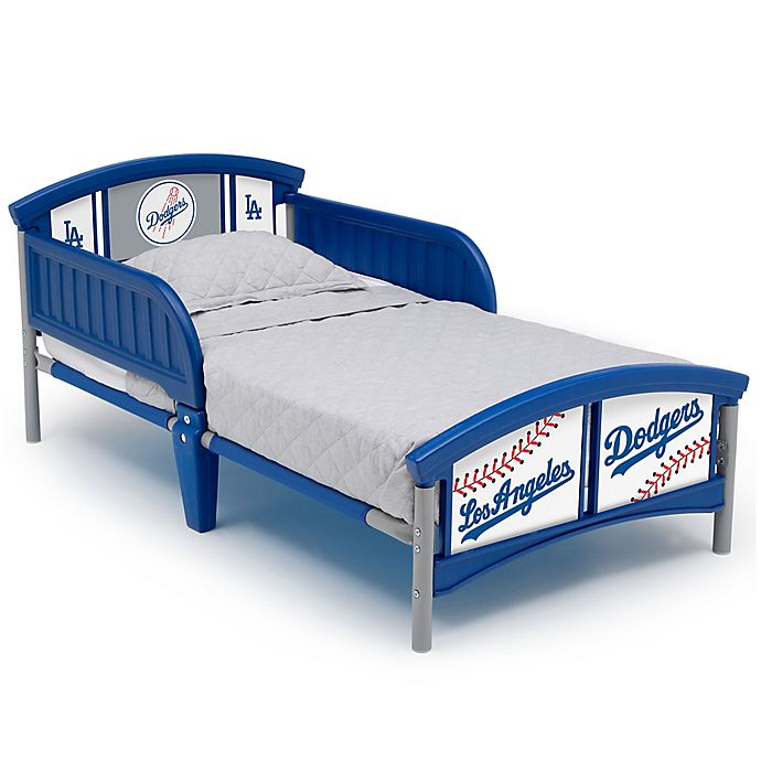 Alternate image 1 for Delta Children MLB Los Angeles Dodgers Plastic Toddler Bed in Blue