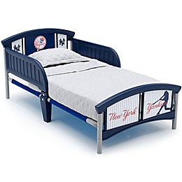 Delta Children MLB New York Yankees Plastic Toddler Bed in Blue