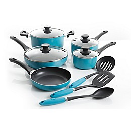 Oster® Kendale Nonstick 12-Piece Aluminum Cookware Combo Set in Turquoise