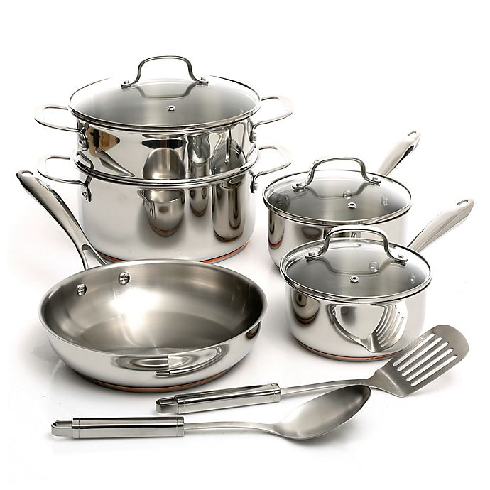 Alternate image 1 for Oster® Kellerton Stainless Steel 10-Piece Cookware Set