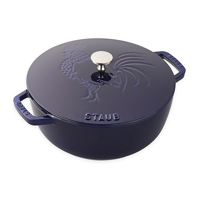 Alternate image 1 for Staub 3.75 qt. Enameled Cast Iron French Oven with Rooster Lid in Dark Blue