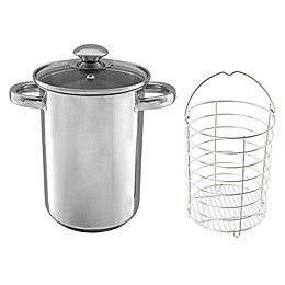 Classic Cuisine Stainless Steel 3 qt. Covered Asparagus Steamer Pot