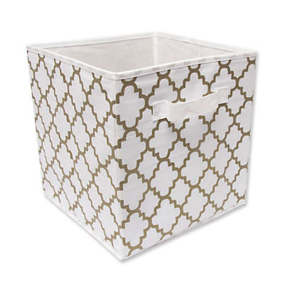 10.5-Inch Foldable Storage Cube in White/Gold