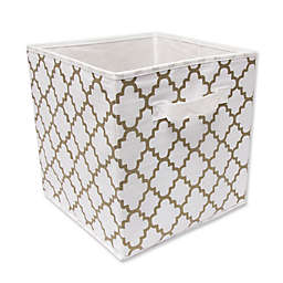Relaxed Living 11-Inch Fabric Storage Bin in White/Gold