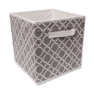 Relaxed Living 11-Inch Fabric Storage Bin in Grey/White Mulberry