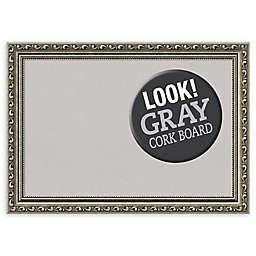 Amanti Art Parisian Cork Board with Silver Frame in Grey