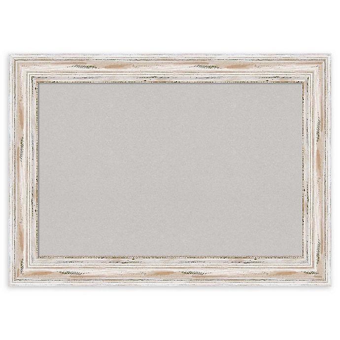 Alternate image 1 for Amanti Art Grey Cork Board with Alexandria Whitewash Frame