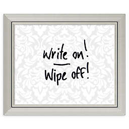 Amanti Art Damask Dry Erase Board with Glass Frame in Grey/White