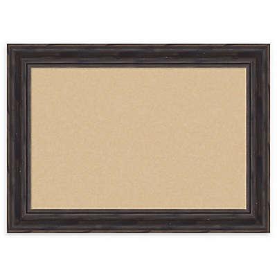 Amanti Art Rustic Narrow Cork Board with Frame in Pine