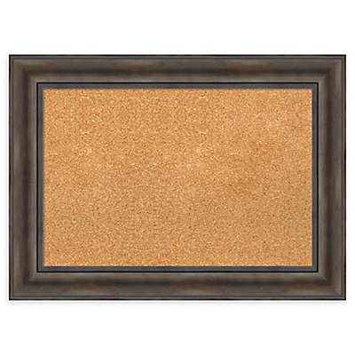 Amanti Art Framed Cork Board in Rustic Pine