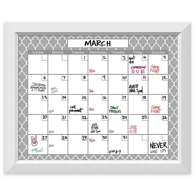 Amanti Art Glass Dry Erase Calendar With Angled Frame In Whitegrey