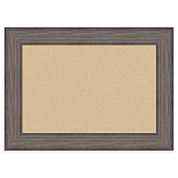 Amanti Art Framed Beige Cork Board in Country Barnwood