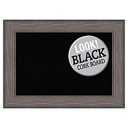 Amanti Art Black Cork Board with Country Barnwood Frame in Rustic Grey