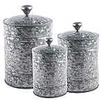 Home Essentials & Beyond 3-Piece Galvanized Canister Set in Grey