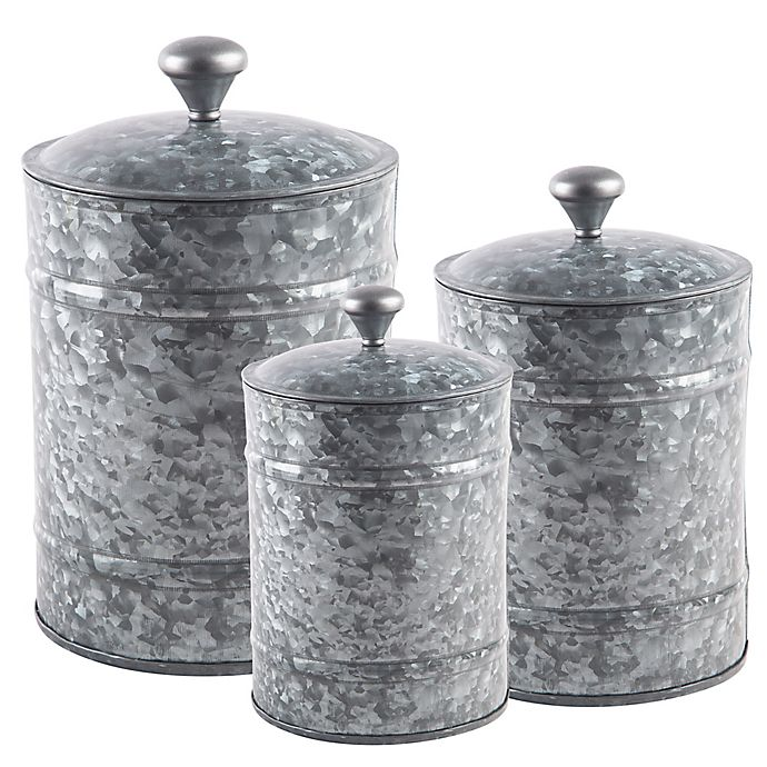Home Essentials Beyond 3 Piece Galvanized Canister Set In Grey