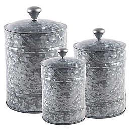 Home Essentials & Beyond 3-Piece Galvanized Canister Set in Grey