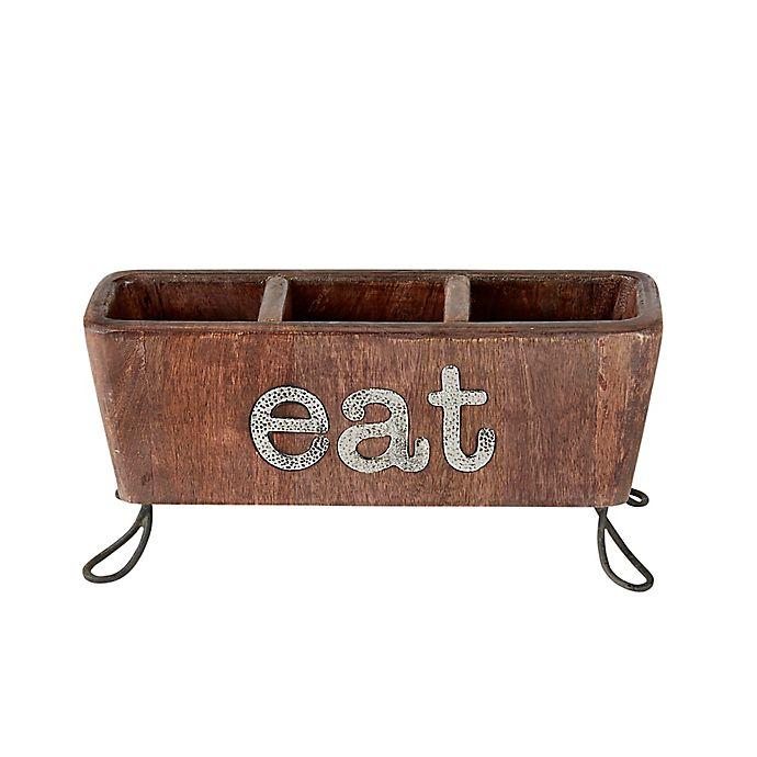 Alternate image 1 for Mud Pie® Eat Flatware Caddy in Brown