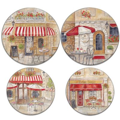 Range Kleen 174 Paris Cafe Multicolor Burner Covers Set Of 4 Bed Bath Amp Beyond