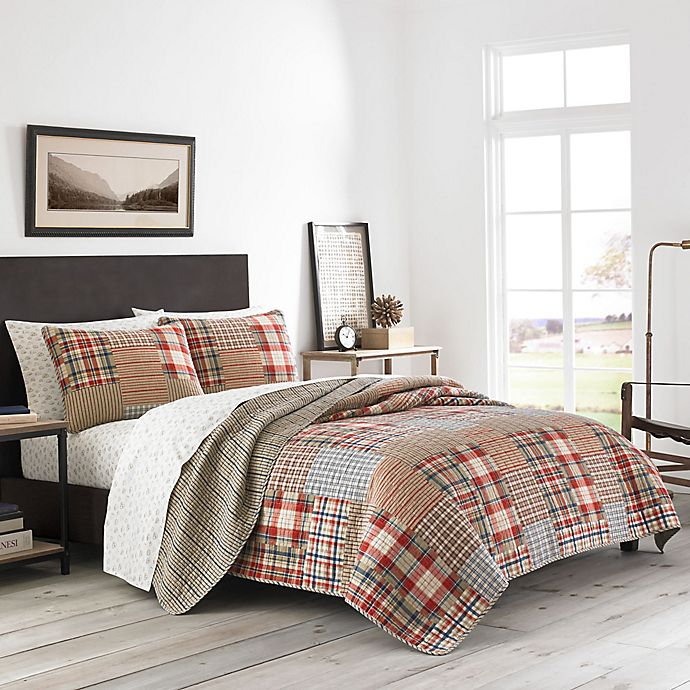 Alternate image 1 for Eddie Bauer® Hawthorne Patchwork Reversible King Quilt Set in Brown