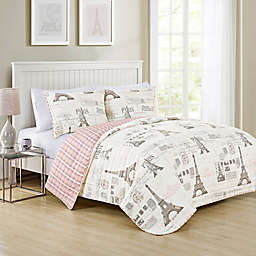 VCNY Home Carte Postale 3-Piece Reversible Quilt Set