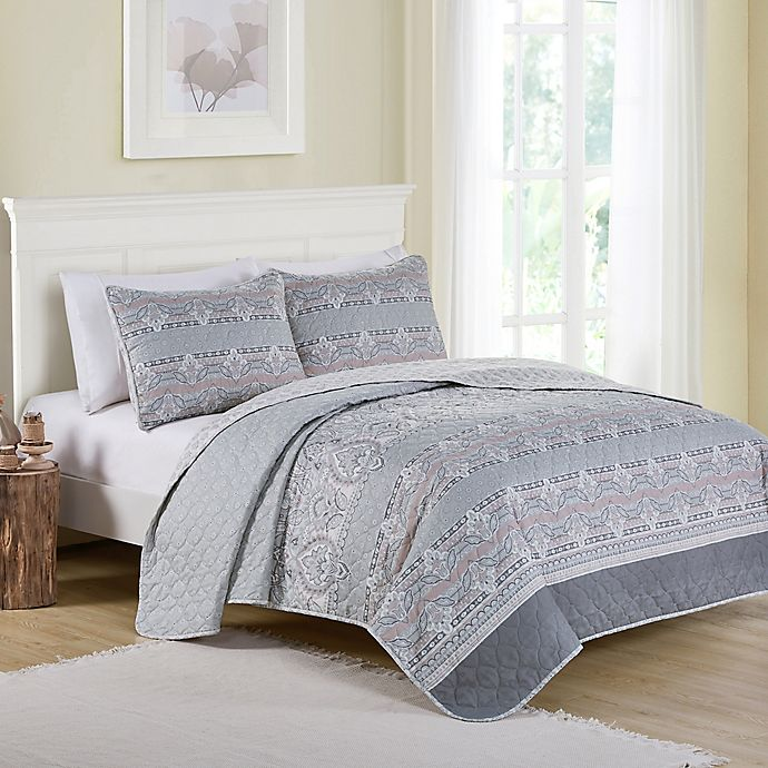 Alternate image 1 for VCNY Home Kagney Reversible Queen Quilt Set in Ice Blue