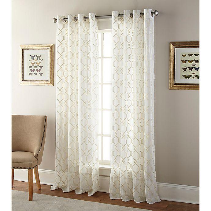 Alternate image 1 for Kings Gate 108-Inch Grommet Window Curtain Panel in Sheer Gold
