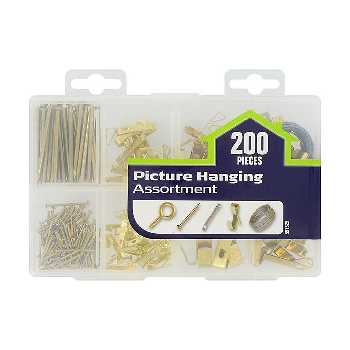 Alternate image 1 for Hillmans's™ Picture Hanger Assortment Kit in Plated Brass