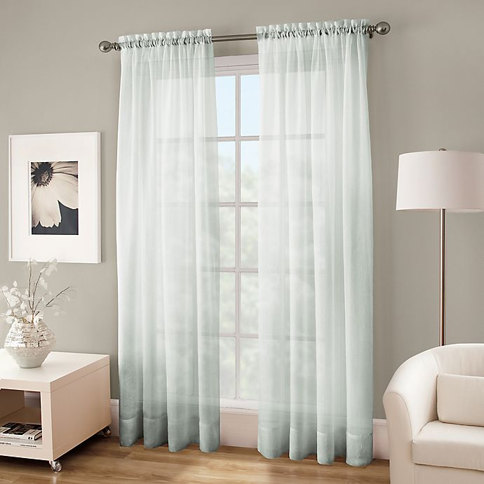 Alternate image 1 for Crushed Voile Platinum 108-Inch Rod Pocket Sheer Window Curtain Panel in Seagrass