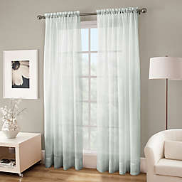 Crushed Voile Platinum 95-Inch Rod Pocket Sheer Window Curtain Panel in Seagrass (Single)