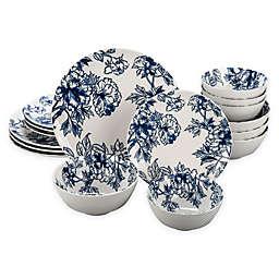 Bia Cordon Bleu Floral 16-Piece Dinnerware Set in Blue