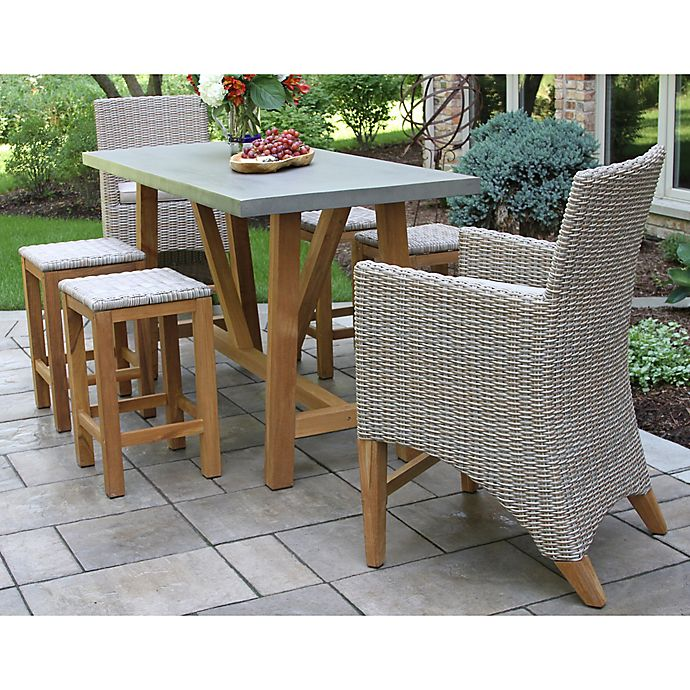 Outdoor interiors 7 piece teak composite patio dining set - Outdoor interiors 7 piece patio set ...