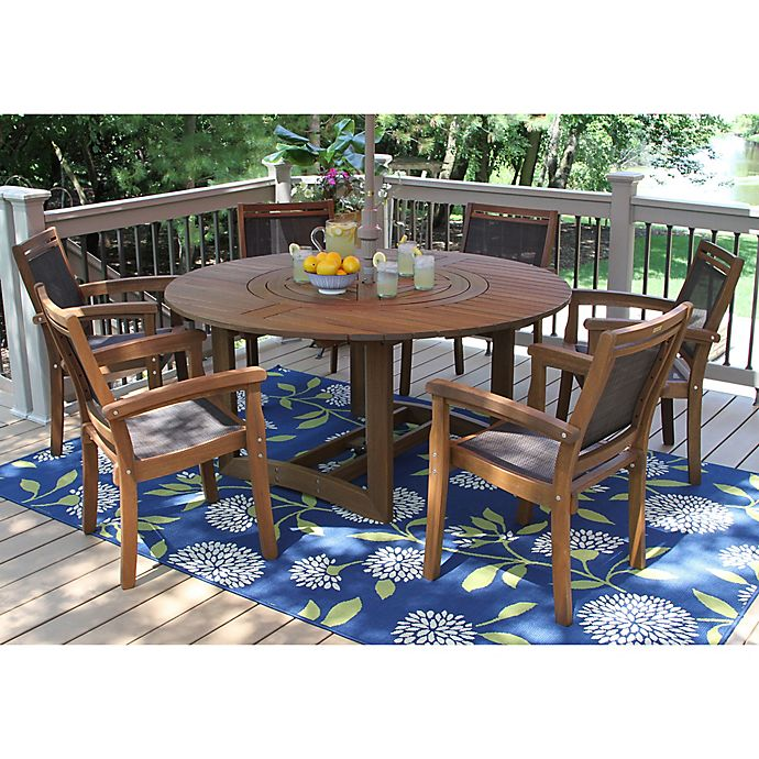 Buy Outdoor Interiors 7 Piece Eucalyptus Lazy Susan Patio Dining Set In Dark Brown From Bed