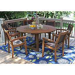 Outdoor Interiors® 7-Piece Eucalyptus Lazy Susan Patio Dining Set in Dark Brown