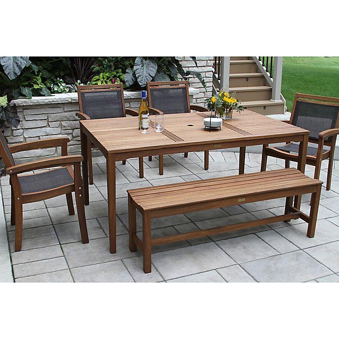 Alternate image 1 for Outdoor Interiors® 6-Piece Eucalyptus Patio Dining Set in Dark Brown
