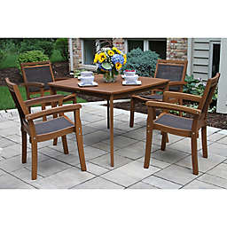 Outdoor Interiors 5-Piece Sling and Eucalyptus Patio Dining Set