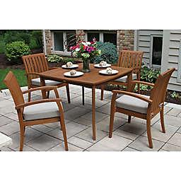 Outdoor Interiors® 5-Piece Deluxe Eucalyptus Patio Dining Set in Brown