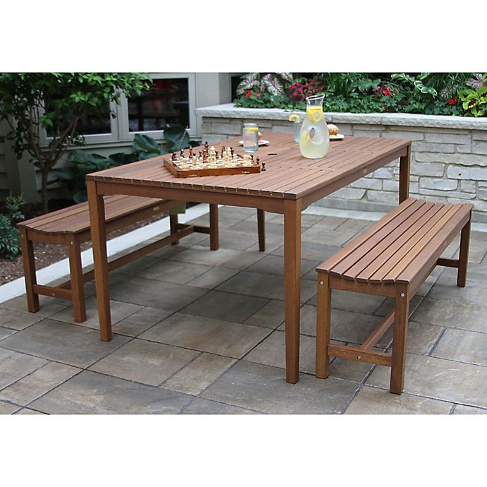 Alternate image 1 for Outdoor Interiors® 3-Piece Eucalyptus Bench Patio Dining Set in Brown Umber
