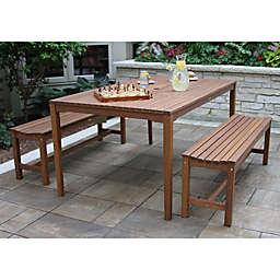 Outdoor Interiors® 3-Piece Eucalyptus Bench Patio Dining Set in Brown Umber