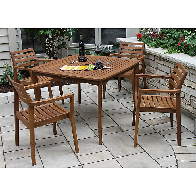 Outdoor Interiors 5 Piece Eucalyptus Stacking Patio Dining Set In Brown Umber Bed Bath Beyond