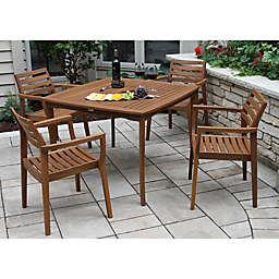 Outdoor Interiors® 5-Piece Eucalyptus Stacking Patio Dining Set in Brown Umber