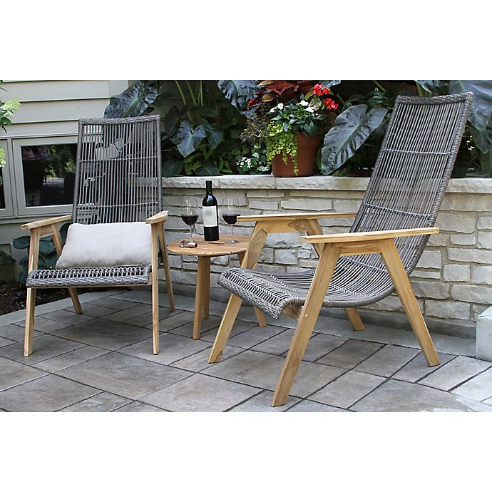 Outdoor Interiors 3 Piece Teak Wicker Basket Patio Conversation Set Bed Bath Beyond