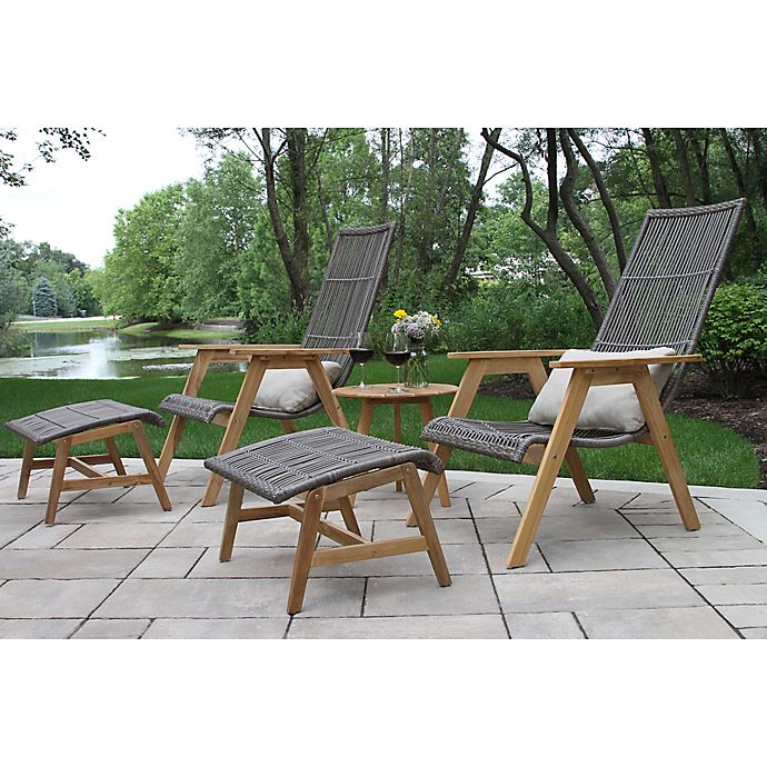 Outdoor Interiors 4 Piece Teak Wicker Basket Patio Lounger Set